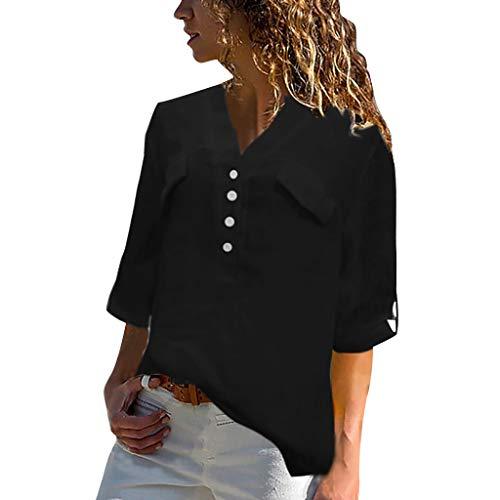 Lazzboy Frauen Plus Größen-Weinlese-halbe Hülsen-v-Ansatz Knopf-beiläufige Spitzen-t-Shirt Bluse Damen Chiffon Elegant V-Ausschnitt Langarm Casual Oberteile Hemd Lose(Schwarz,3XL)