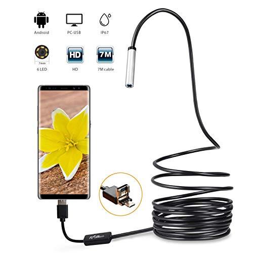 Endoscopio Android, Flylinktech Endoscopio, per Android USB 2.0, Fotocamera Full HD, Telecamera Endoscopica Android Compatibile OTG & UVC, Impermeabile ipx67, Tubo perIspezione (5M-7MM)
