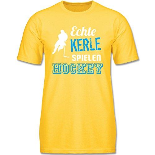 Sport Kind - Echte Kerle Spielen Hockey - 140 (9-11 Jahre) - Gelb - F140K - Jungen T-Shirt (Lustige Hockey-t-shirts)