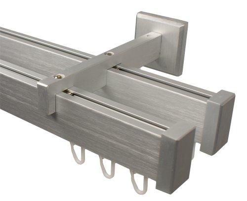 Innenlauf Gardinenstange 2 - läufig aus Aluminium im Eckdesign, alufarbig 120 cm