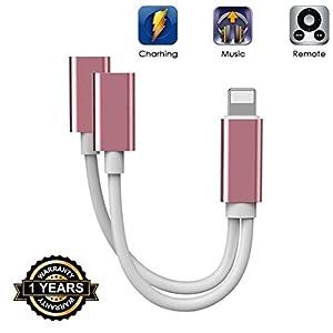 Für iPhone Adapter Kopfhöreadapter Splitter Adapter für iPhone 7 kopfhörer für iPhone 8/8 Plus/ 7 Plus/X/XR Ladekabel Support Calling + Charge + Music + Control Konverter Green