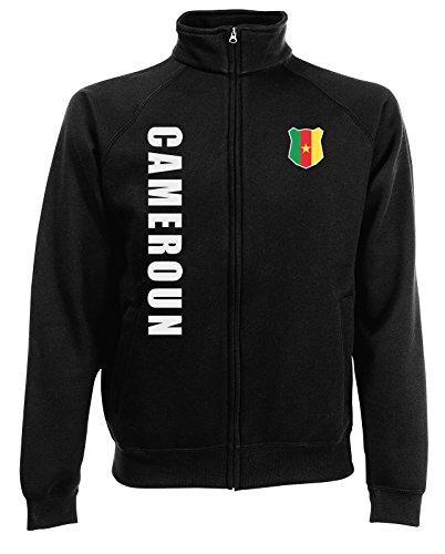 Kamerun Cameroun Sweatjacke Jacke Trikot Wunschname Wunschnummer (Schwarz, M)