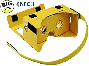 **BIGGER VERSION** I AM CARDBOARD® 45mm Focal Length Virtual Reality Google Cardboard with Printed Instructions and Easy to Follow Numbered Tabs (WITH NFC) - Perfect fit for Samsung Galaxy Note 2 and Note 3 - Yellow
