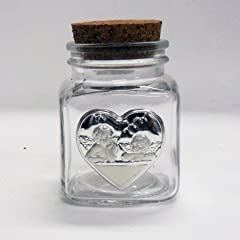 Idea Regalo - Bomboniere (2 bomboniere) Barattolo con piastra cuore angeli puttini tappo sughero