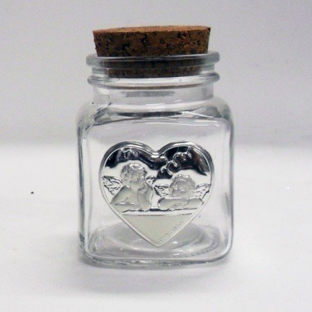 Bomboniere (2 bomboniere) Barattolo con piastra cuore angeli puttini tappo sughero