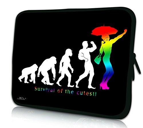 Luxburg® Design Laptoptasche Notebooktasche Sleeve für 14,2 Zoll (auch in 10,2 Zoll   12,1 Zoll   13,3 Zoll   14,2 Zoll   15,6 Zoll   17,3 Zoll) , Motiv: Regenbogen Evolution