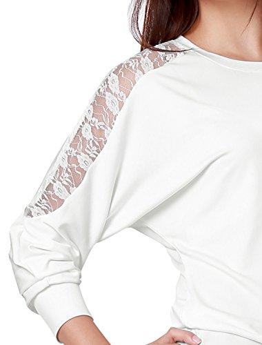 Allegra K Femme Dentelle Florale Panneau Arrière DecolletéÉlastique Chemise Décontractée white