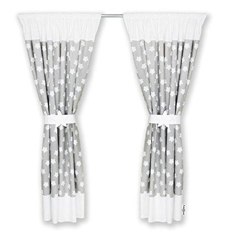 Amilian® Kinderzimmer Vorhänge 155 x 155 cm Set mit Schlaufen Baby Gardinen Vorhang (A1)/weiß