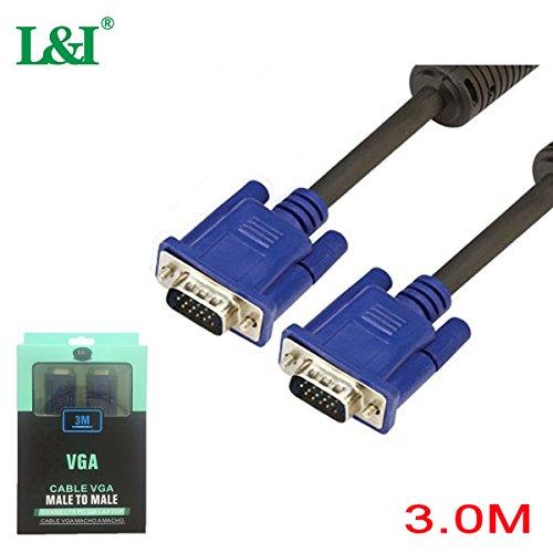 Kvm-video-monitor (L & I VGA CABLE 3m, VGA Kabel Männlich auf VGA männlich auf VGA Monitor Kabel für Monitor, Computer, Projektor, VGA, Video-Splitter, KVM Switch (schwarz))
