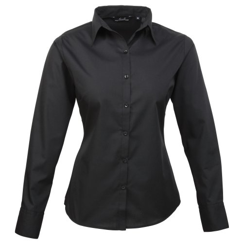 premier-womens-ladies-poplin-long-sleeve-blouse-plain-work-shirt-12-black
