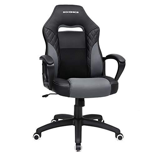 Songmics poltrona girevole sedia direzionale ergonomica da ufficio studio regolabile con rotelle nero-grigio obg38bg