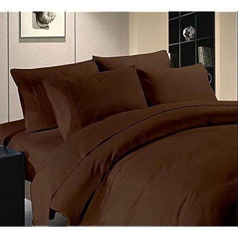 Soft Neilsen Tools-Set di copripiumino e lenzuolo con angoli, cioccolato, 400-Solid Uk, piccolo, doppio in cotone egiziano 100% {50,80 cm (20