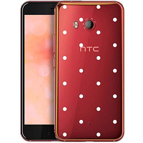 OOH!COLOR Schutzhülle Kompatibel mit HTC U11 Hülle Silikon Case Handy Tasche transparent Bumper mit Coolen Aufdruck Motiv weiße Punkte (EINWEG)