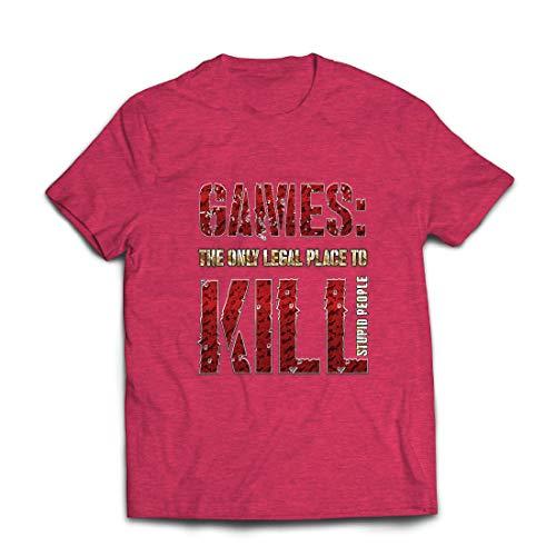 lepni.me Männer T-Shirt Spiele: der einzige legale Ort, um dumme Menschen zu töten Zitat (X-Large Heidekraut Rot Mehrfarben)