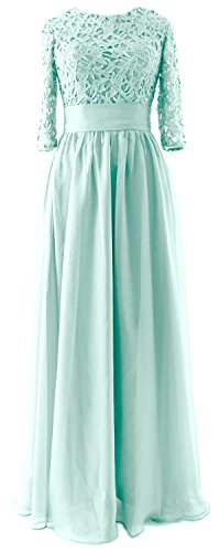 MACloth Vintage Half Sleeves Mother of Bride Dress Lace Formal Evening Gown Aqua