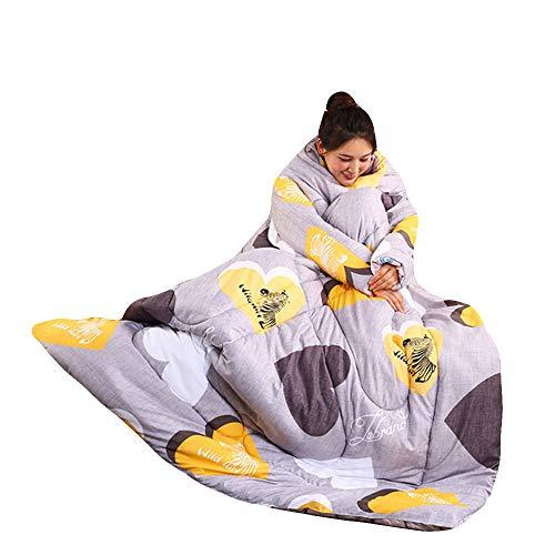 Y56 150cmX200cm TV-Decke Frauen Winter Lazy Quilt with Sleeves Steppdecke Decke mit Ärmeln Steppdecke Warm Thickened Washed Quilt Blanket Decke Schlafsack Faul Kuscheldecke Geschenk (C)