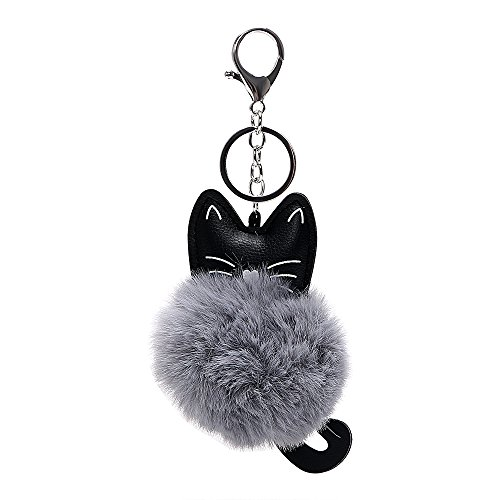 �nger Kunstfell Schlüsselanhänger, Auto Schlüsselanhänger PU Leder flauschig Auto Zubehör Katze Kopf Puppe Schlüssel Ring für Mädchen Frau (Grau) ()