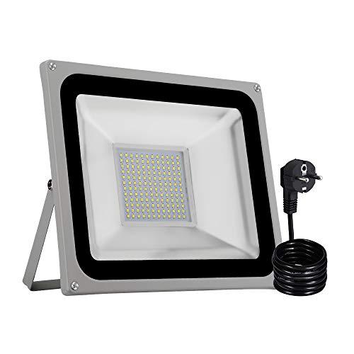 LED Strahler, LED Fluter IP65 wasserdicht Außenstrahler Flutlichtstrahler Aluminium Scheinwerfer Licht 6000K,EU Stecker, ideale Wandleuchte für Garten, Sportplatz[Energieklasse A+] (100W Kaltweiß) -
