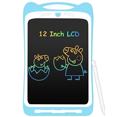 AGPTEK Bunte LCD Schreibtafel mit 12 Zoll Bildschirm, Elektronische Writing Tablet mit Stift, Digitale Zeichenbrett mit Anti-Clearance Funktion Malerei Graffiti Notizen Schreiben für Kinder Schulen