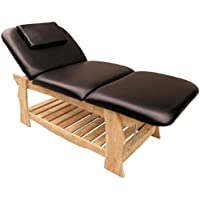 Mesa Reclinable para Masajes Profesional 190x70cm | 3 Zonas | reposacabezas extraíble / agujero para la cara | camilla banco de esteticista de madera 10cm de acolchado | peso máx soportado 250Kg | madera natural marrón