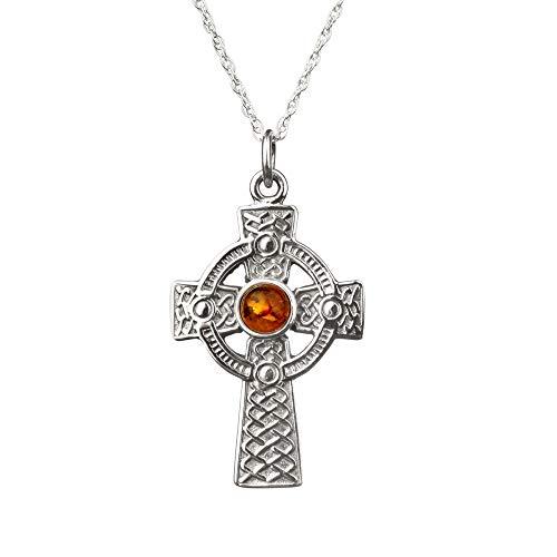 Iona Amber Cross - Silber & Bernstein - Keltisches Kreuz Kette aus Schottland