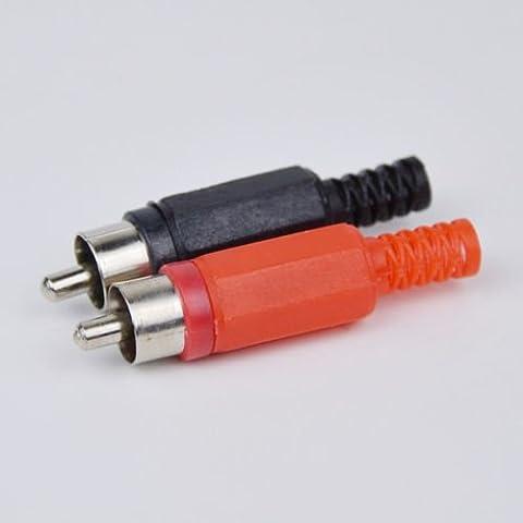 Generic YZ _ 7* * 2454* * 8* * YZ _ 7Calidad Rojo y Negro calidad RCA enchufe macho M Adaptador de soldadura ble C 50pcs alta Tor ad Cable conector YZ _ US7_ 160510_