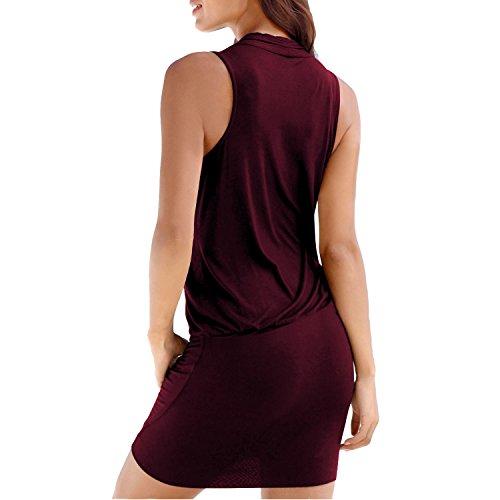 SUNNOW Damen Slim Bodycon Schwarzes De-V-Ausschnitt Paket Hip Strandkleidung Longshirt Kleid Weinrot