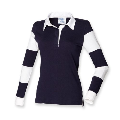 Front Row Damen Rugby-T-Shirt, gestreifte Ärmel Blau Navy/Navy/White M - UK Size 12 (Damen Navy Rugby Blau)