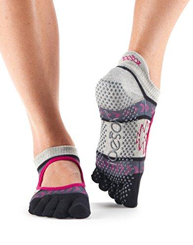 ToeSox Bella Calzini da donna con dita  1paio in cotone biologico aperti sul davanti, calzini per yoga. Moonshadow