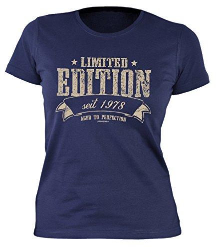 Damen T-Shirt 40 Geburtstag Frauen - Geburtstagshirt Frau 40 Jahre - Jahrgang 1978 : Limited Edition Seit 1978 Aged to Perfection - Geschenk-Idee 40.Geburtstag Damenshirt Gr: L