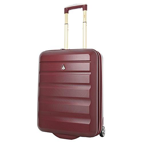 Aerolite 55x40x20 Tamaño Máximo de Ryanair y Vueling ABS Trolley Maleta Equipaje de Mano Cabina Ligera con 2 Ruedas (Dorado Vino)