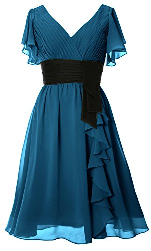 MACloth - Robe - Trapèze - Manches Courtes - Femme Bleu-vert