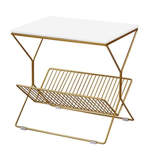 Table Basse De Haute Qualité en Métal Canapé Table D'appoint Table Basse Stable Antidérapant Salon Canapé Table D'appoint Simple Table Basse (Color : Blanc, Size : 50 * 50 * 36cm)