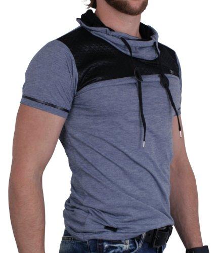 ReRock Herren T-Shirt, slimfit Kapuzen, Mato, versch. Farben (S-XL) Blau Meliert Schwarz