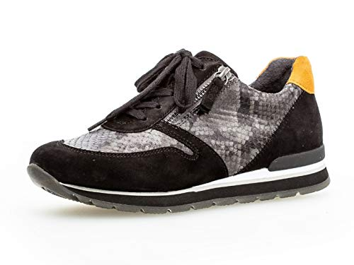 Gabor Damen Sport-Halbschuh 36.369, Frauen Low-Top Sneaker,Halbschuh,Schnürschuh,Strassenschuh,Business,Freizeit,dkgrey/schw/Safran,37.5 EU / 4.5 UK -