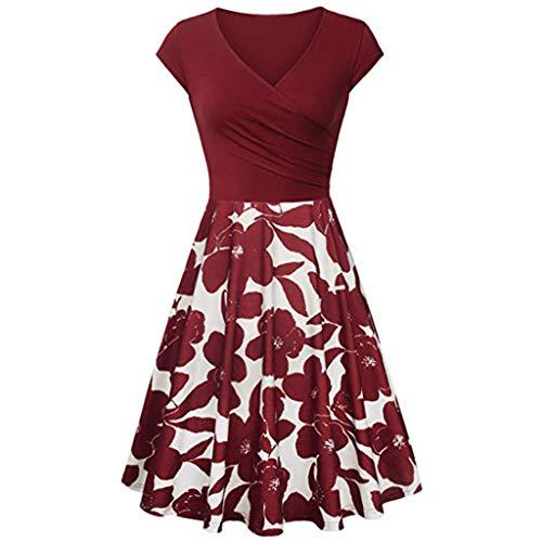 Damen Kleid,Pottoa Frauen Elegantes Ausgestelltes Kleid mit A-Linie - Kurzärmliges Kleid mit V-Ausschnitt - Knielang Etuikleid mit Stretch Partykleid - Swing Kleider