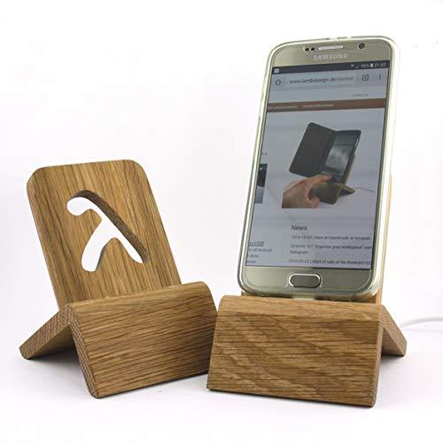 Designer Dockingstation (Micro USB/USB-C - Eiche massiv) für Smartphones kompatibel mit Samsung,...