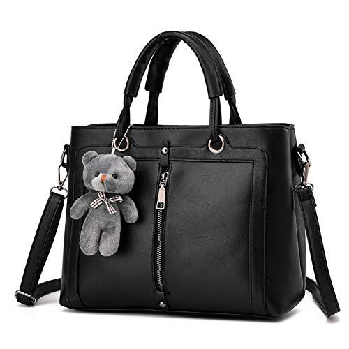 Segater® Frauen Handtasche Kuriertasche Damen Umhängetasche Retro Tote PU Leder Geldbörse mit pelzigen Bären Anhänger (Pelzigen Bären)