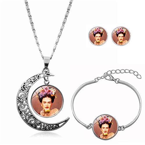upnanren Collar Pulsera Pendientes Pendientes Joyas Personaje de Tres Piezas Frida · Carlo Time Gemstone Lady Jewelry Regalos