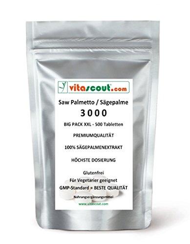 500 Tabletten Saw Palmetto Extrakt - Sägepalme 3000 - HÖCHSTE DOSIERUNG! - PN: 01021885