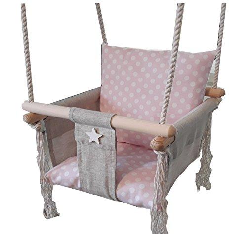 Golden Kids Babyschaukel Babysitz Baby Kinderschaukel Holz Stoff Schaukel zum Aufhängen Baumschaukel (Rosa)