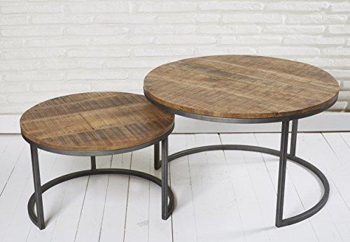 2er Set Couchtische Holz Metall Satztische Retro Beistelltische Tischset Tische