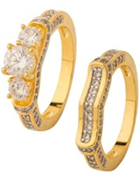 Voylla Traditional Brass With Yellow Gold Plated Cubic Zirconia Rings Combos For Women