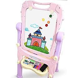 Chevalet pour enfants, Chevalet d'art debout multifonctionnel, Planche à dessin réglable en hauteur avec des trombones (Color : Pink)
