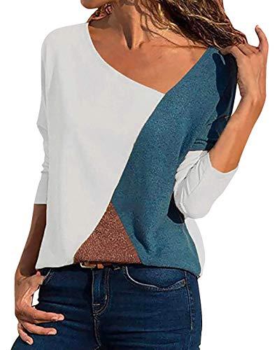 Hompow Damen Casual Patchwork Farbblock T-Shirt Sommer Mode Asymmetrischer V-Ausschnitt Langarmshirt Tops Sweatshirt Tunika Top Pullover Bluse Oberteil(2019 New Langarm and Kurzarm T-Shirt) (XL, WH) -