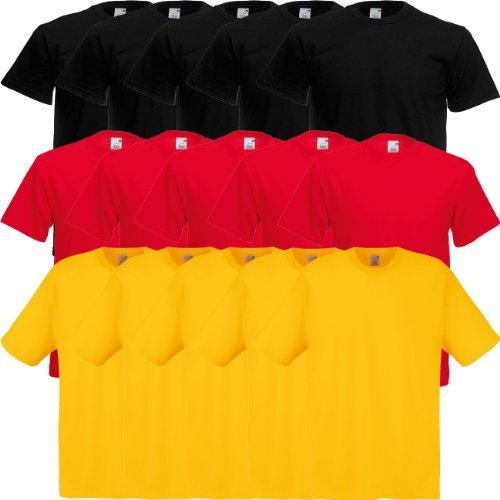 Fruit of the Loom Original Full-Cut T Rundhals T-Shirt F110 5er 10er 15er 20erPack 5x black 5x red 5x sunflower