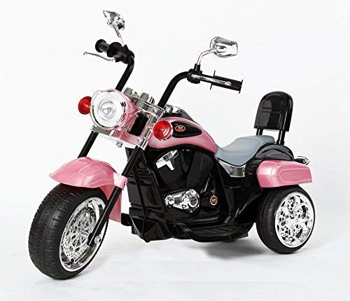 RICCO TR1501 Kids 3 Wheel Chopper Trike Motorcycle Electric Ride on Motor Bike LED Lights and Music (PINK)