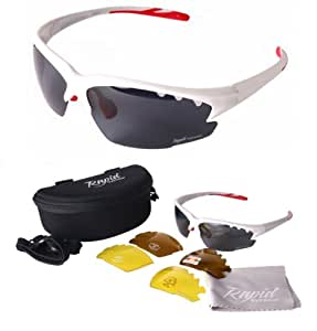 Luna White UV POLARISED SPORTS SUNGLASSES With Interchangeable Lenses