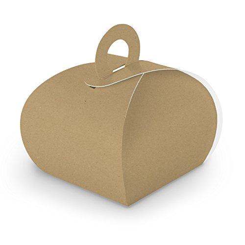 itenga 50x GeschenkBox Schachtel mit Griff braun aus KraftKarton zum Befüllen (Gastschenk, Hochzeit Taufe Geburt Kommunion Konfirmation)
