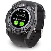 IWO V8 Bluetooth Smart Watch Sport Fitness Tracker SD Karte SIM Karte Smartwatch Telefon Schrittzähler Schlaf Monitor Walking Distance Wireless Smart Armband für IOS Android Handys (Schwarz)